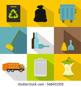 Trash icons set. Flat illustration of 9 trash vector icons for web