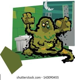 Trash monster - Vector clip art illustration on separate layers