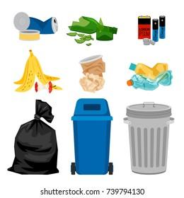 Trash set with garbage bins. Waste separation vector illustration