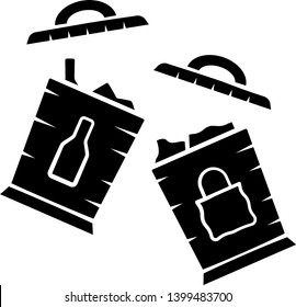 Trash sorting bins glyph icon. Trashcans for separating glass, paper waste. Rubbish containers for garbage separation. Silhouette symbol. Negative space. Vector isolated illustration