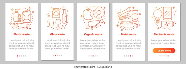 Trash sorting onboarding mobile app page screen with linear concepts. Organic, metal, electronic, glass waste steps instructions. Garbage recycling. UX, UI, GUI vector template with illustrations