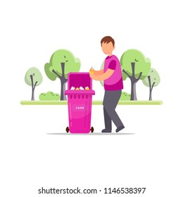 Trash sorting. Protect the environment. Man throws a garbage in the trash. Vector illustration.