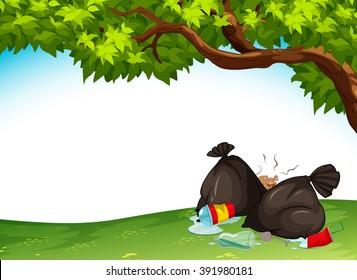 Trashbags in the park illustration