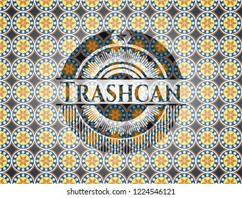 Trashcan arabesque emblem background. arabic decoration.