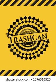 Trashcan black grunge emblem with yellow background. Vector Illustration. Detailed.