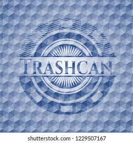 Trashcan blue badge with geometric pattern background.