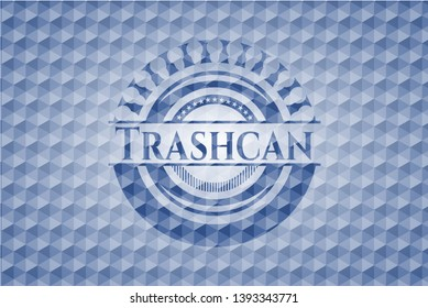 Trashcan blue badge with geometric pattern background. Vector Illustration. Detailed.