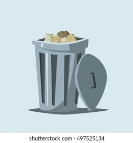 Trashcan. Cartoon vector illustration. Trash in city. Steel container