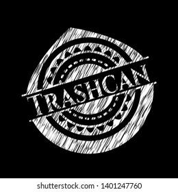 Trashcan chalk emblem. Vector Illustration. Detailed.