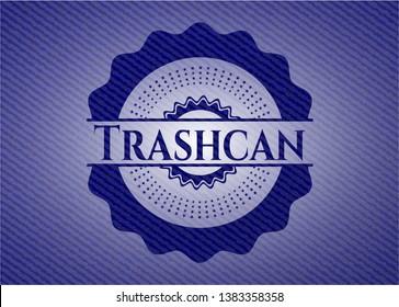Trashcan emblem with denim high quality background. Vector Illustration. Detailed.