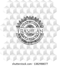 Trashcan grey badge with geometric cube white background