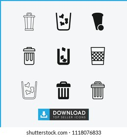 Trashcan icon. collection of 9 trashcan filled and outline icons such as trash bin. editable trashcan icons for web and mobile.
