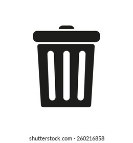 The trashcan icon. Dustbin symbol. Flat Vector illustration