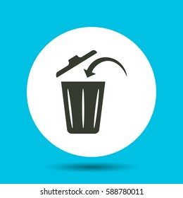 Trashcan icon. Flat vector illustration in black on white background.