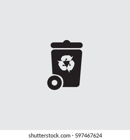 trashcan icon with recycle sign