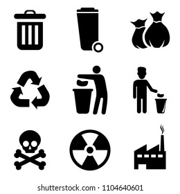 Trashcan icon set. Signs for infographic, logo, app development and website design.