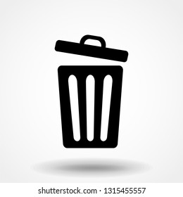 trashcan icon, vector trash bin - basket illustration - garbage basket symbol