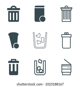 Trashcan icons. set of 9 editable filled and outline trashcan icons such as trash bin, delete trash bin