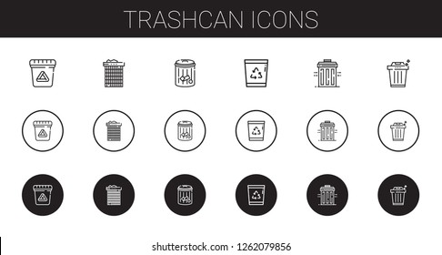 trashcan icons set. Collection of trashcan with waste, recycle bin, trash. Editable and scalable trashcan icons.