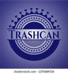 Trashcan jean or denim emblem or badge background