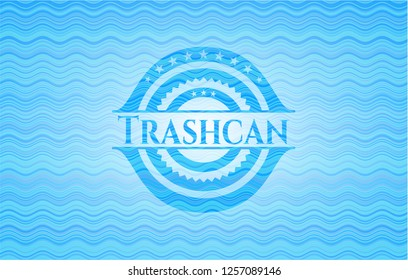 Trashcan light blue water wave style badge.