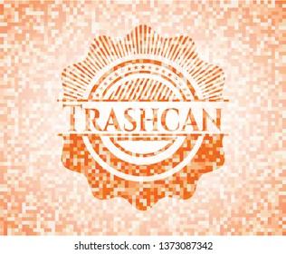 Trashcan orange mosaic emblem with background
