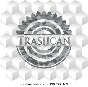 Trashcan realistic grey emblem with geometric cube white background