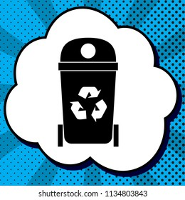 Trashcan sign illustration. Vector. Black icon in bubble on blue pop-art background with rays.