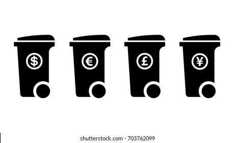 Trash/rubbish wheelie bin icons with currency labels: dollar, euro, pound sterling, yen. Disposable income concept.