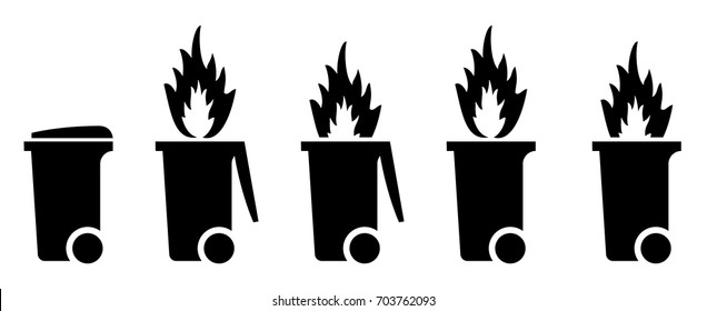 Trash/rubbish wheelie bin icons with fire. Dumpster fire concept.