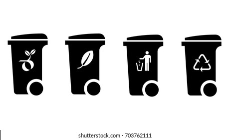 Trash/rubbish wheelie bin icons with labels: green waste, compost, general waste, recyclable waste.