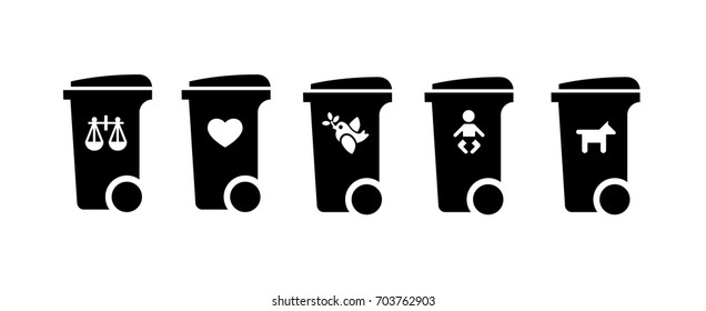 Trash/rubbish wheelie bin icons with social concept labels: disposable justice, love, peace, childhood/baby, dog/pet.