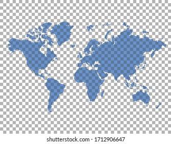 trasparent world map on transparent background