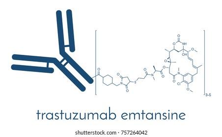 Trastuzumab emtansine antibody-drug conjugate molecule. Each antibody is conjugated to 0-8 cytotoxic mertansine molecules through a cleavable linker. Skeletal formula.