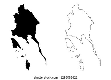 Trat Province (Kingdom of Thailand, Siam, Provinces of Thailand) map vector illustration, scribble sketch Trat map