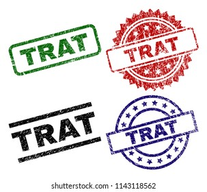TRAT seal prints with distress texture. Black, green,red,blue vector rubber prints of TRAT tag with grunge texture. Rubber seals with circle, rectangle, medallion shapes.