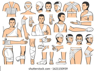 Trauma bandaging technique, first aid medical emergency. Vector people bandage and guide for leg, arm and head fracture injury, elbow and ankle joint sprains, clinic ambulance and hospital rescue