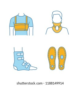 Trauma treatment color icons set. Surgical men's rib belt, cervical collar, foot ankle brace, orthopedic insoles. Isolated vector illustrations