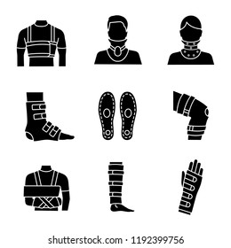 Trauma treatment glyph icons set. Rib belt, cervical collar, ankle and knee braces, insoles, shoulder immobilizer, shin support, wrist brace. Silhouette symbols. Vector isolated illustration