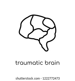 traumatic brain injury (tbi) icon. Trendy modern flat linear vector traumatic brain injury (tbi) icon on white background from thin line Diseases collection, outline vector illustration