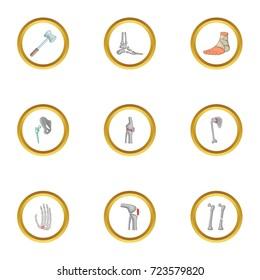 Traumatology and orthopedic icons set. Cartoon style set of 9 traumatology and orthopedic vector icons for web design