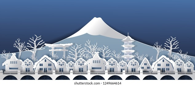Traval to japan in winter season of world famous landmarks with snow.vector paper art and digital craft style.