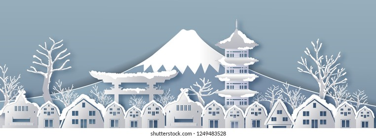Traval to japan of world famous landmarks with snow.winter season in vector paper art and digital craft style.