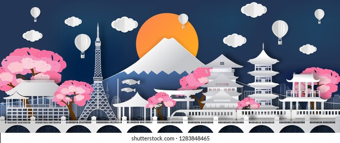 Traval to japan of world famous landmarks  of Japan in autumn season with balloon.concept vector paper art and digital craft style.