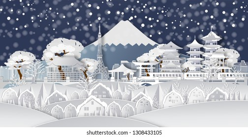 Traval to japan of world famous landmarks with snow.winter season in japan,vector paper art and digital craft style.