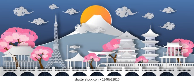 Traval to japan of world famous landmarks.vector paper art and digital craft style.