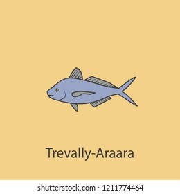 travally-araara 2 colored line icon. Simple purple and gray element illustration. travally-araara concept outline symbol design from fish set
