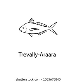 travally-araara icon. Element of marine life for mobile concept and web apps. Thin line travally-araara icon can be used for web and mobile. Premium icon on white background