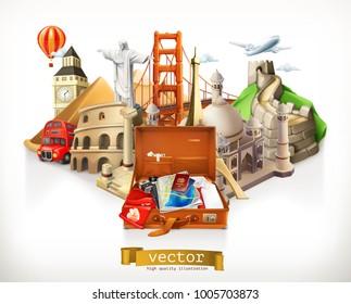 Travel, 3d vector illustration