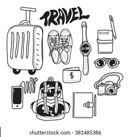 travel accessories doodle